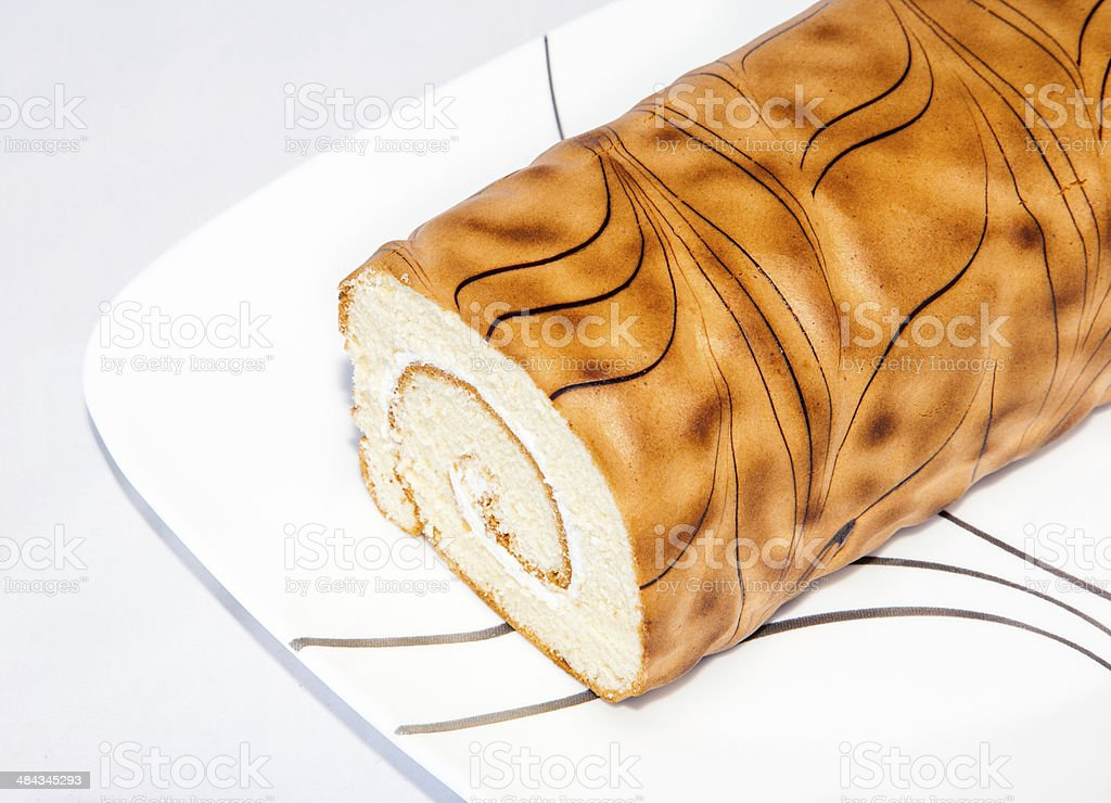 closeup vanilla roll cake stock photo