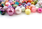 closeup various sizes and shaped colorful bead with copy space
