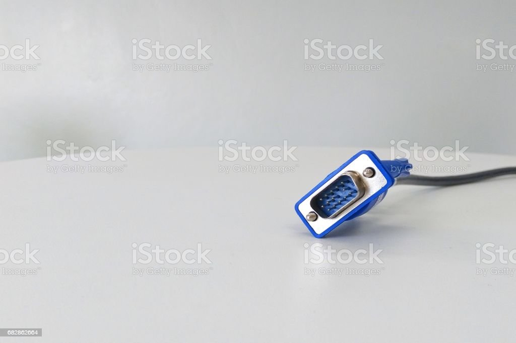 close-up vga connector isolated on white stock photo