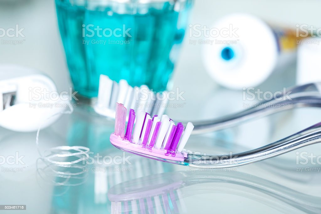 Closeup view dental health care objects stock photo