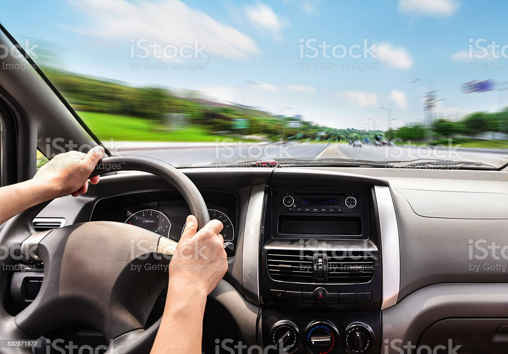 Closeup view from the truck cab. stock photo