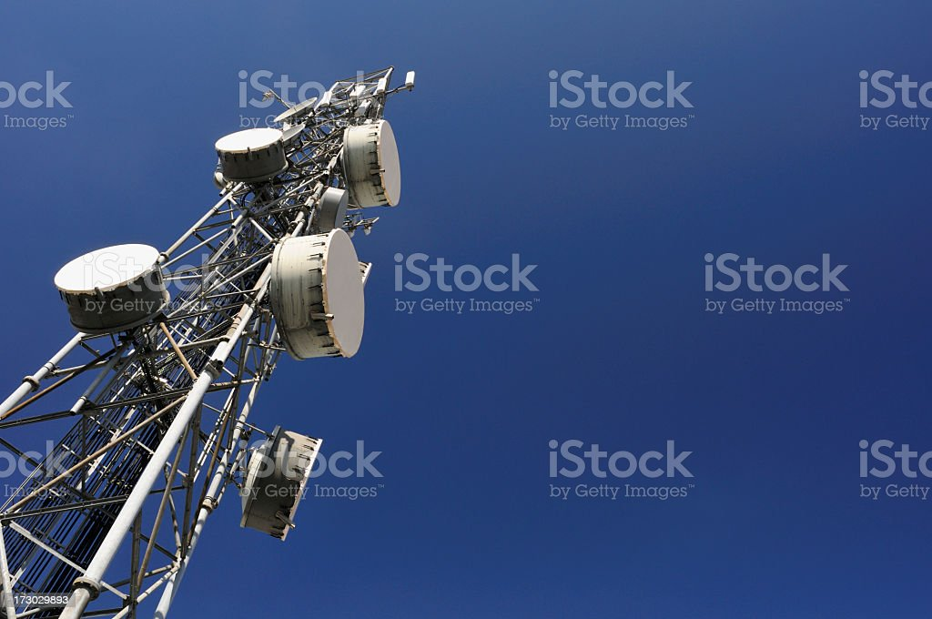 Close-up view of a communications tower stock photo