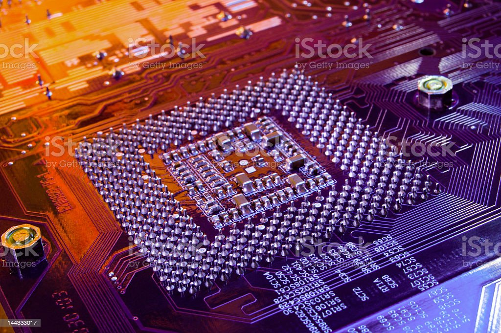 Close-up view of a computer microchip royalty-free stock photo