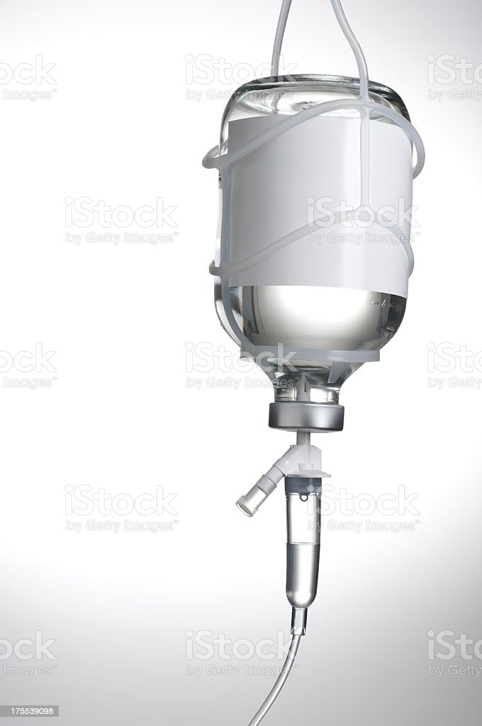 Close-up view of a Iv container on a white background royalty-free stock photo