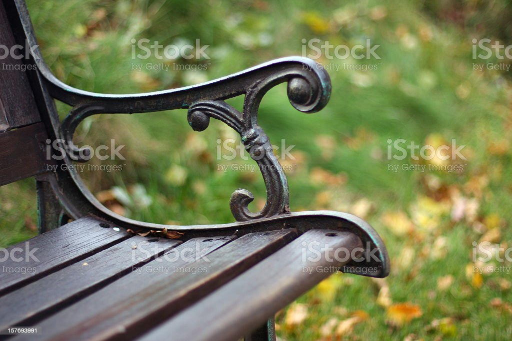 Closeup view of a single bench in the park royalty-free stock photo