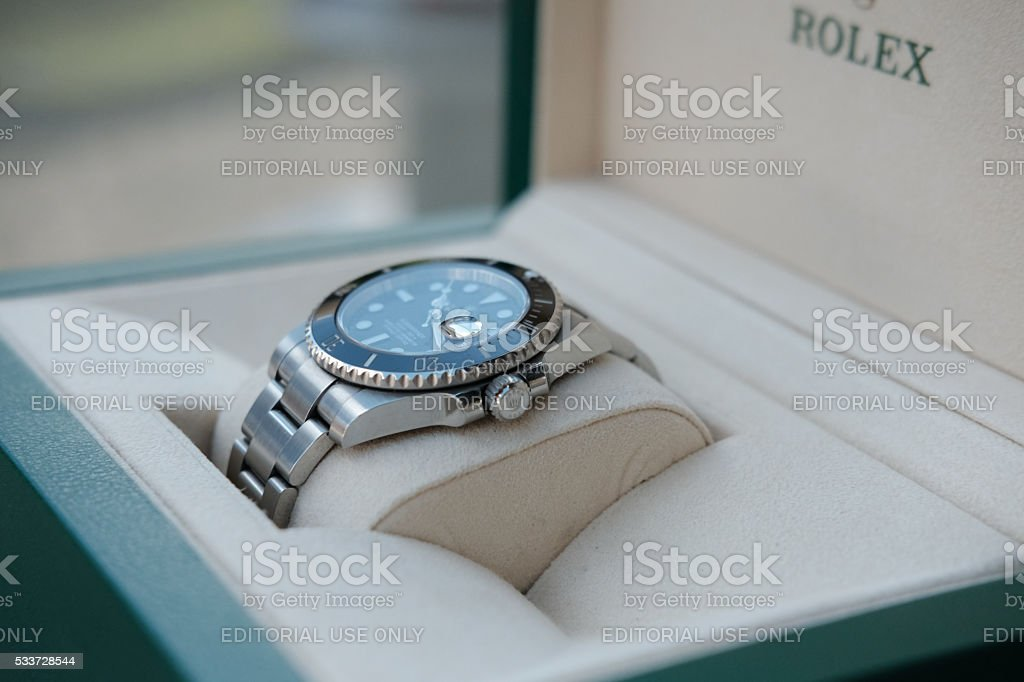 Close-up view of a swiss, mechanical divers watch stock photo