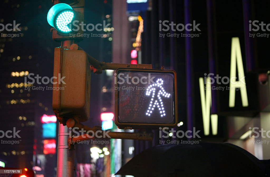 Close-up view of a wall signal at night in the city stock photo