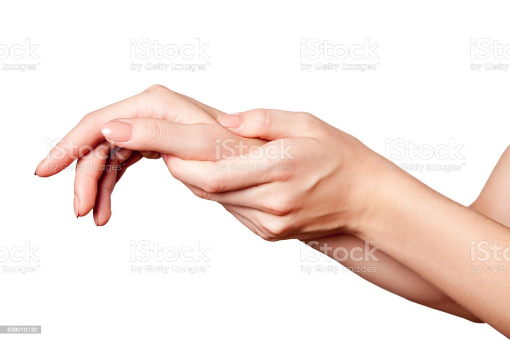 Closeup view of a young woman with pain on hand. stock photo