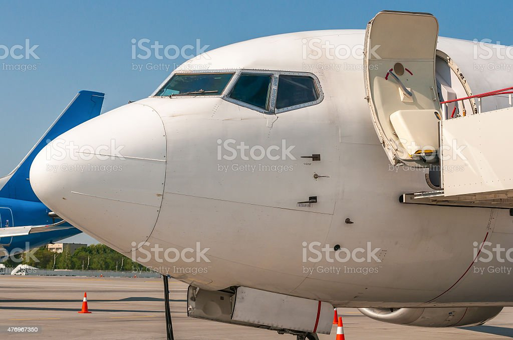 Close-up view of aircraft at the airport stock photo