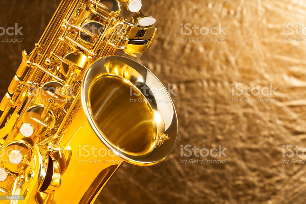 Close-up view of alto saxophone bell and keys stock photo