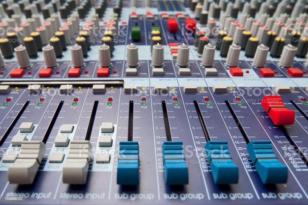 Closeup view of an audio mixer royalty-free stock photo