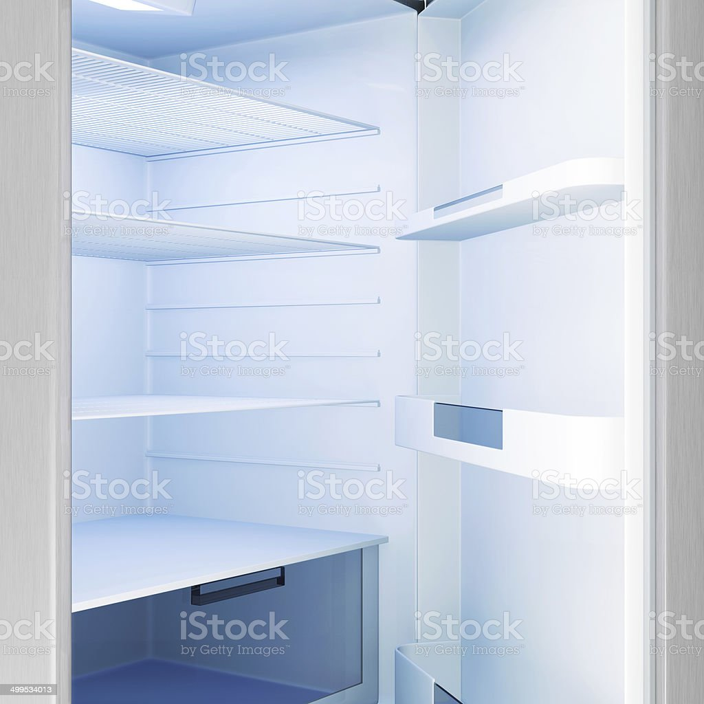 Close-up view of an empty Modern Fridge with Blue Light stock photo