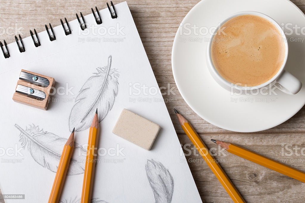 Close-up view of artist's or designer's table vector art illustration