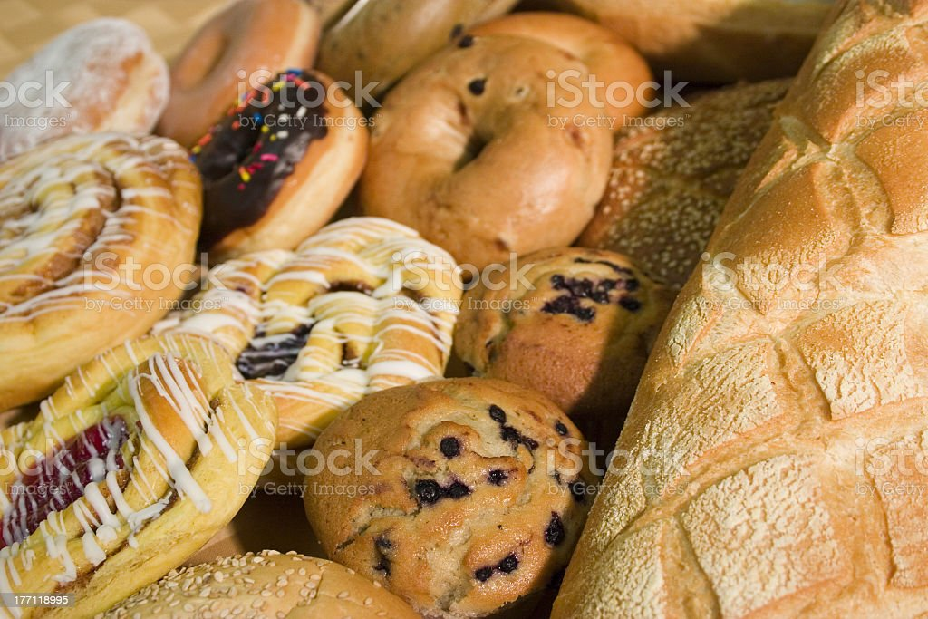 Close-up view of assorted baked goods stock photo