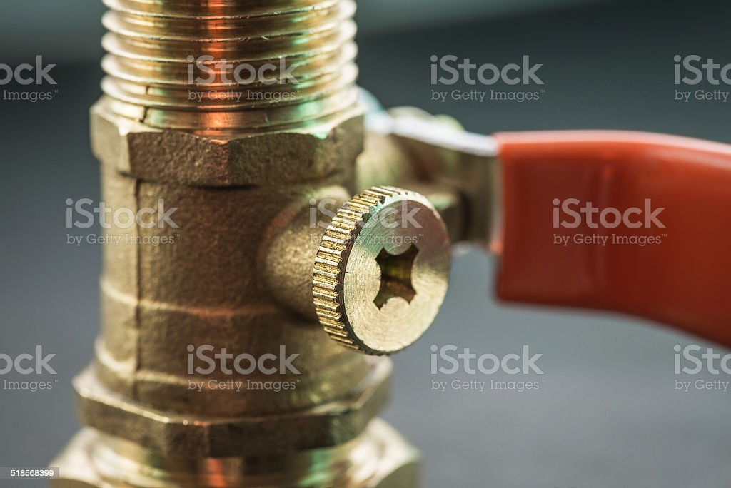 Close-up view of ball valve. stock photo