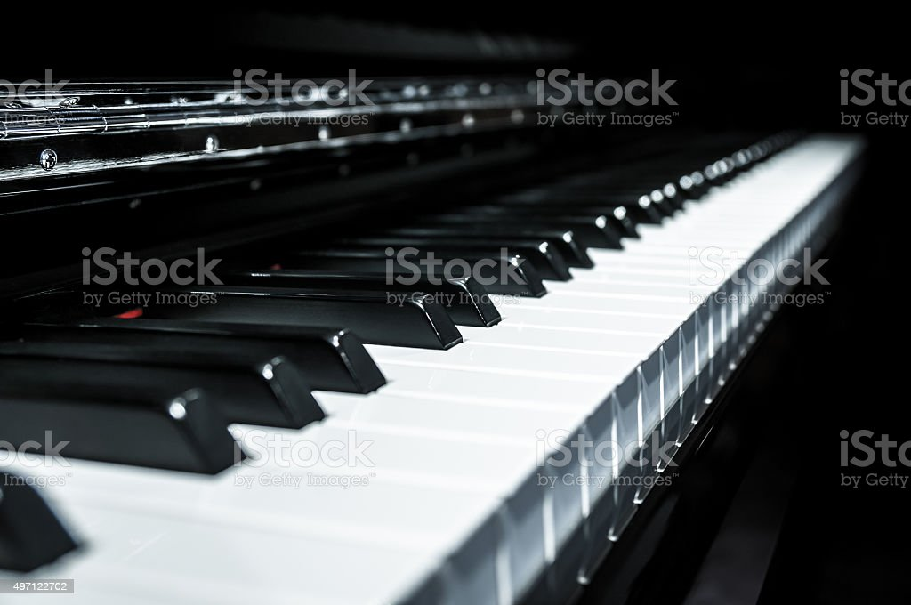 Closeup view of black and white piano keys stock photo
