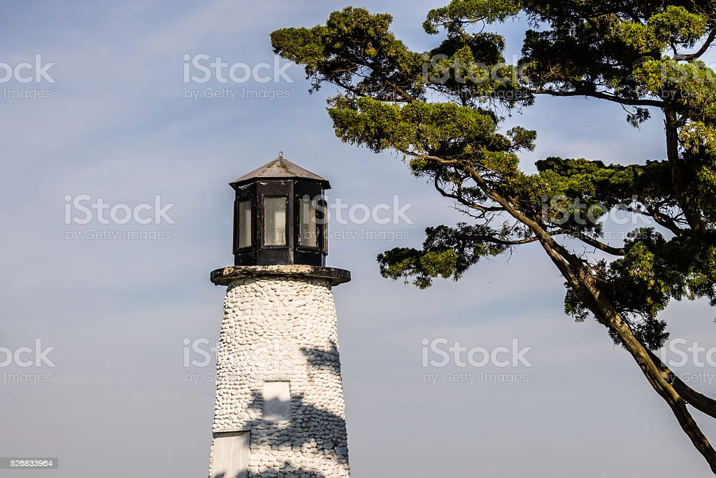 Close-up View of Buckroe Beach Lighthouse on Sunny Day stock photo
