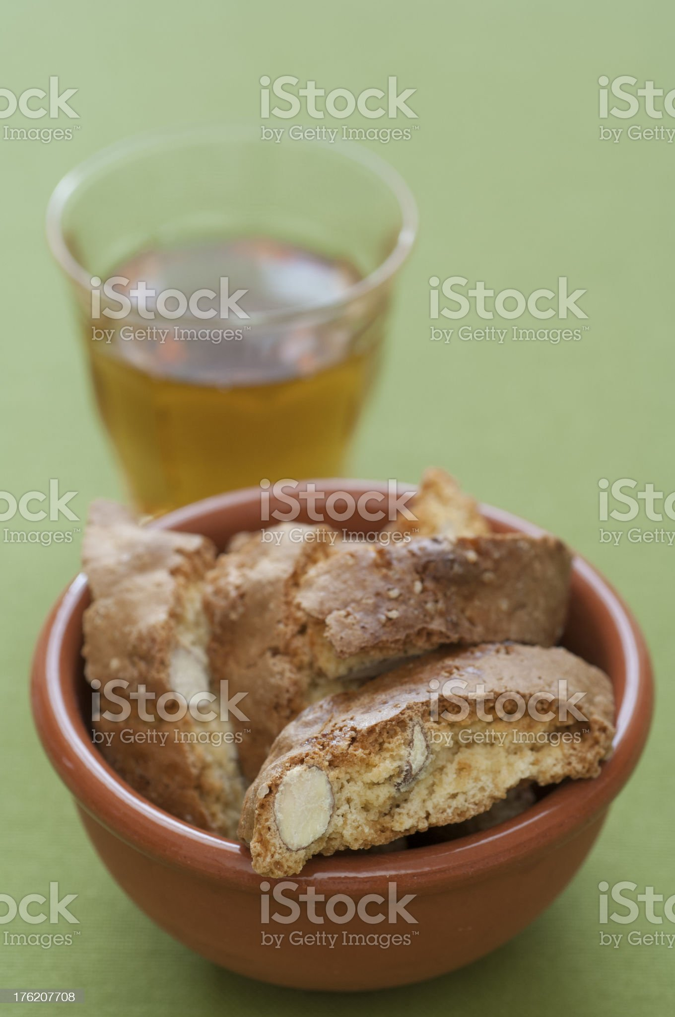 Close-up view of Cantucci and Vin Santo royalty-free stock photo