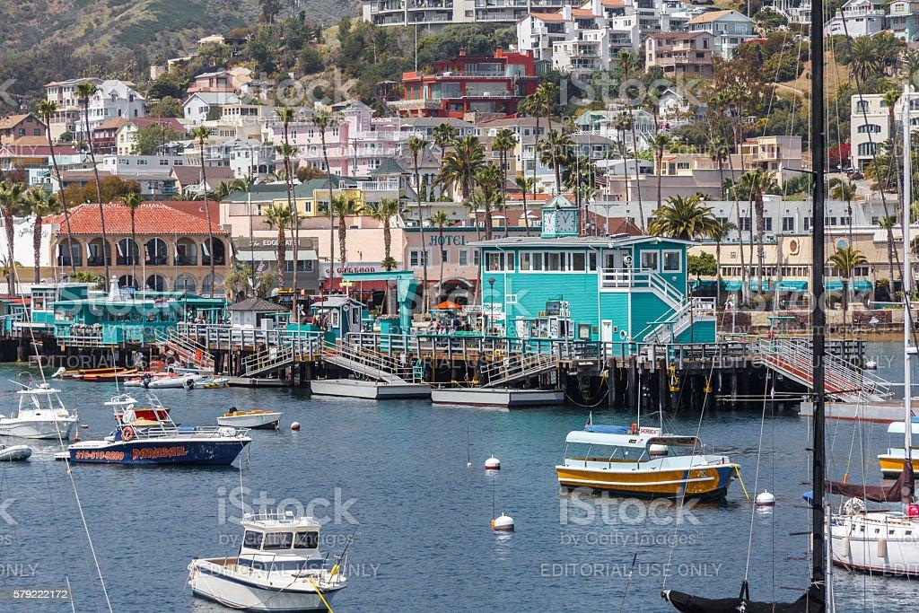 Closeup View of Catalina Island Harbor and Town, Southern California stock photo