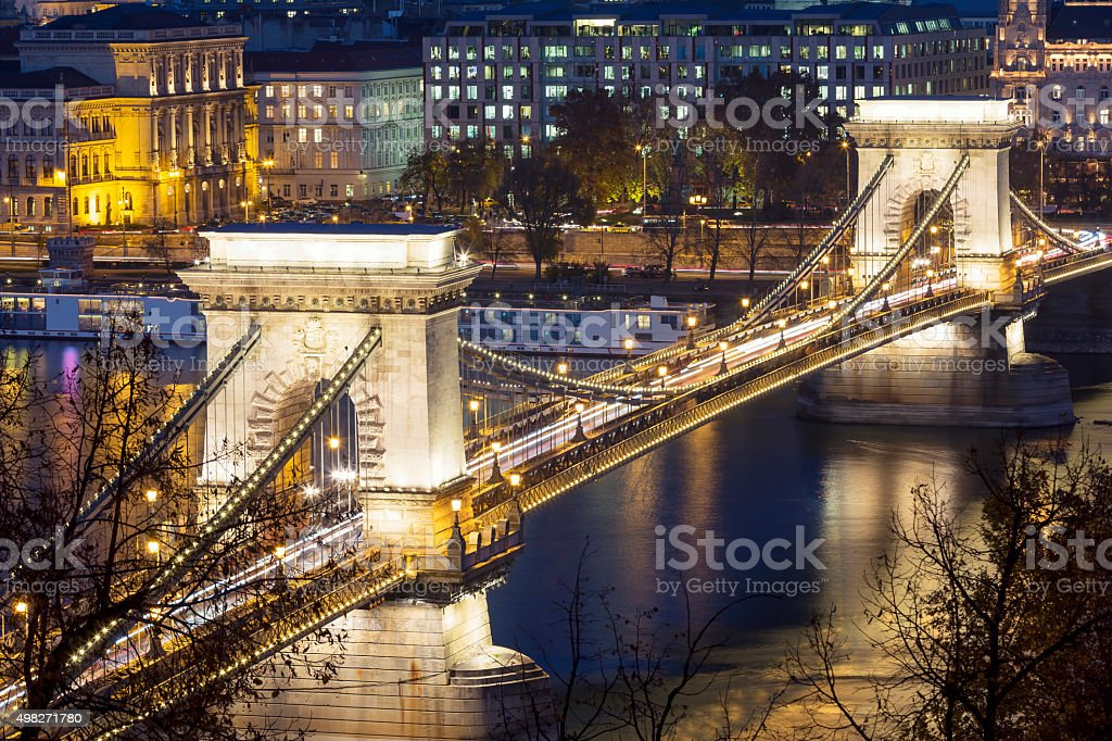 Close-up view of Chain Bridge in Budapest at dusk stock photo