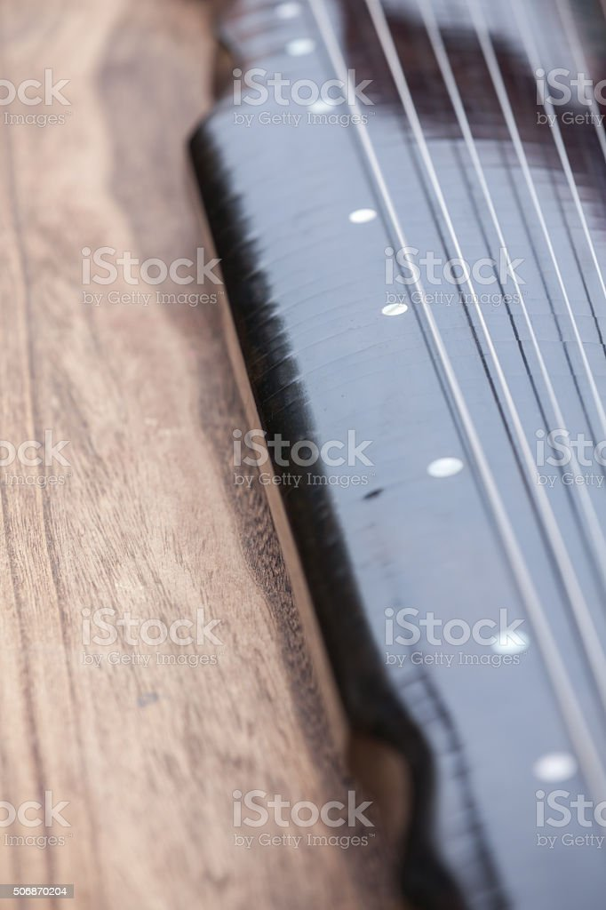 Close-up view of Chinese zither stock photo