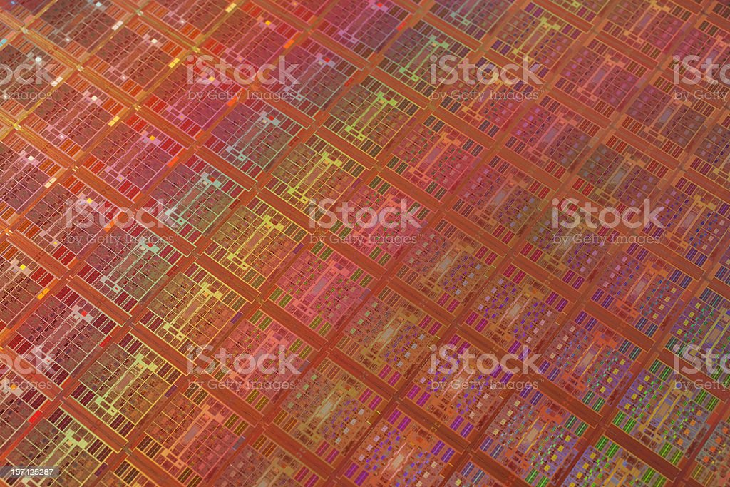 Close-up view of colorful wafer with regular pattern stock photo