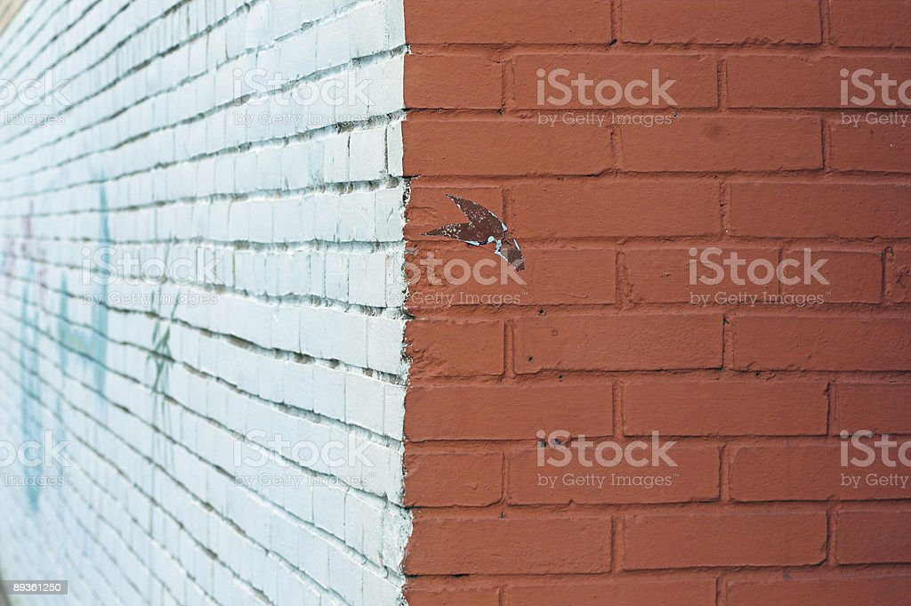Close-up view of corner and painted wall with graffiti royalty-free stock photo