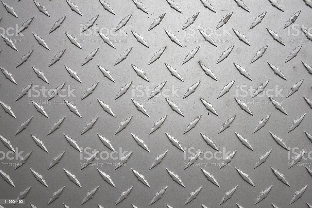 Close-up view of diamond plate metal sheeting stock photo