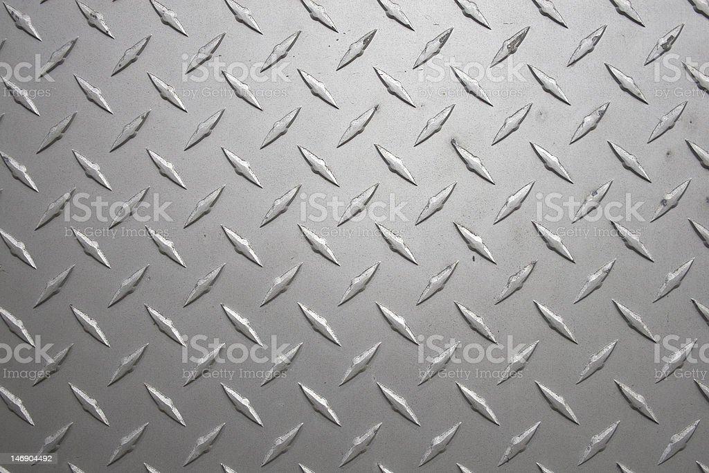 Close-up view of diamond plate metal sheeting stock photo
