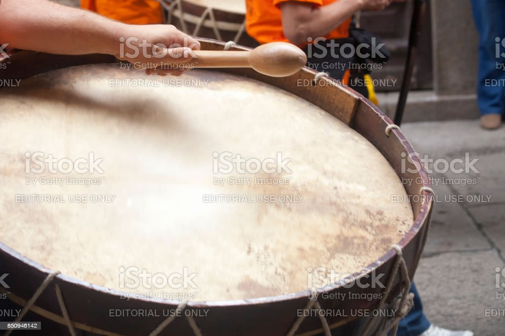 Close-up view of drummer in a street band. stock photo