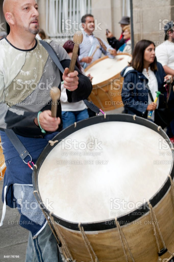 Close-up view of drummer in a street marching band. stock photo