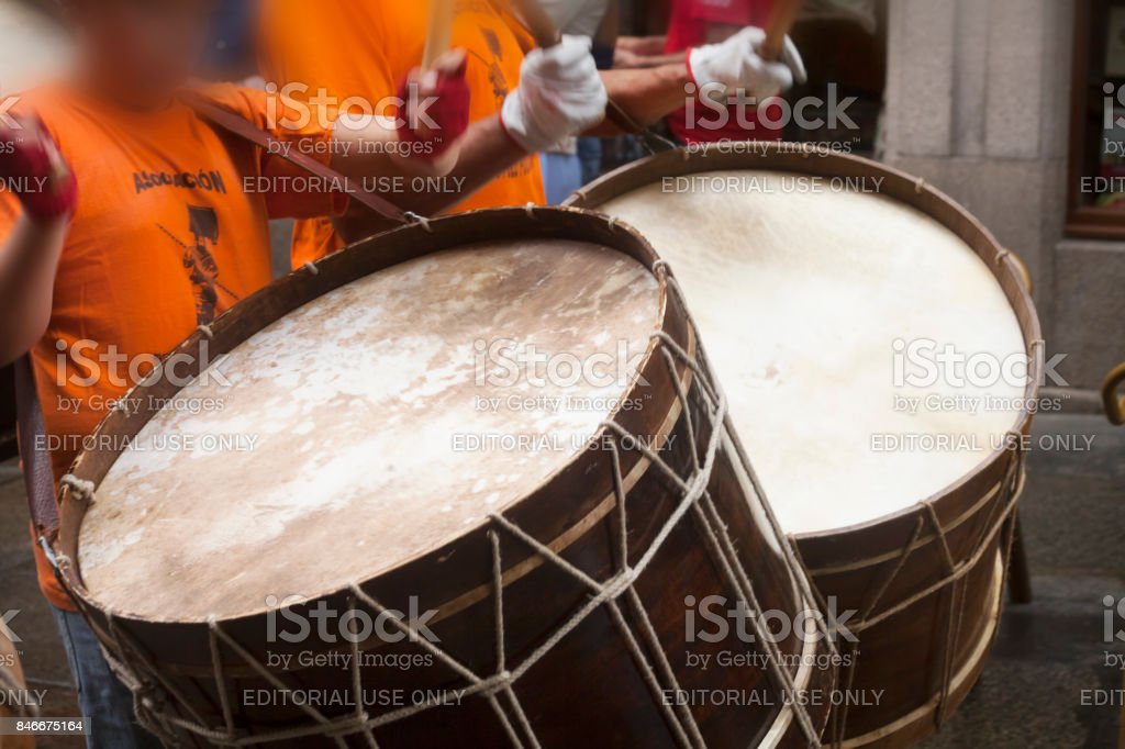 Close-up view of drummers in a street marching band. stock photo