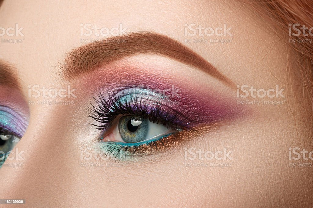 Close-up view of female blue eye stock photo