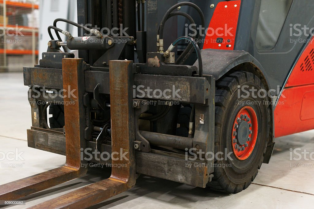 Close-up view of forklift loader forks. stock photo