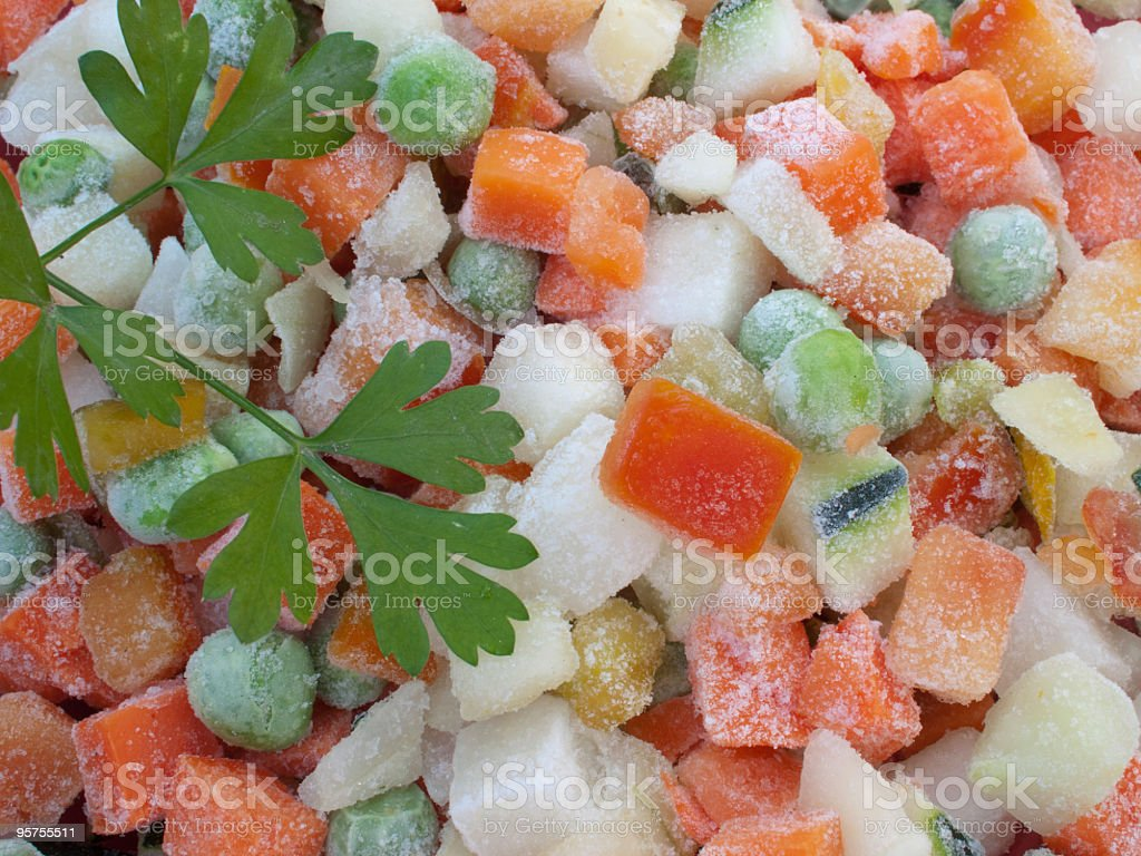 Closeup view of frozen various vegetables royalty-free stock photo