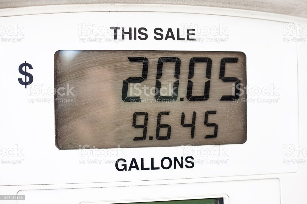 Close-up view of gasoline, fuel pump display. stock photo