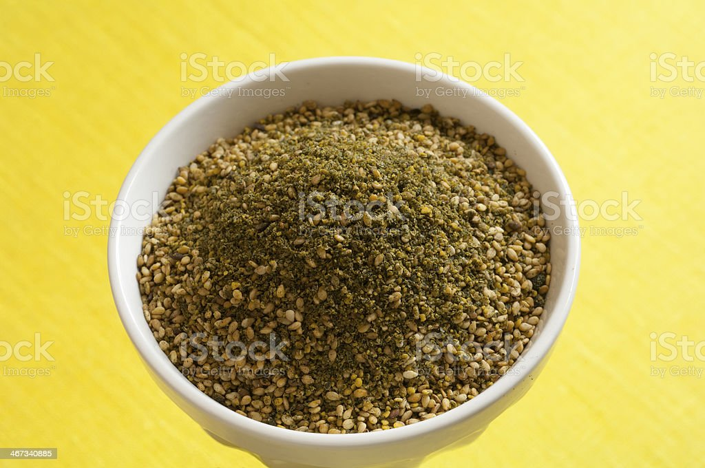 Close-up view of gomasio with spirulina royalty-free stock photo