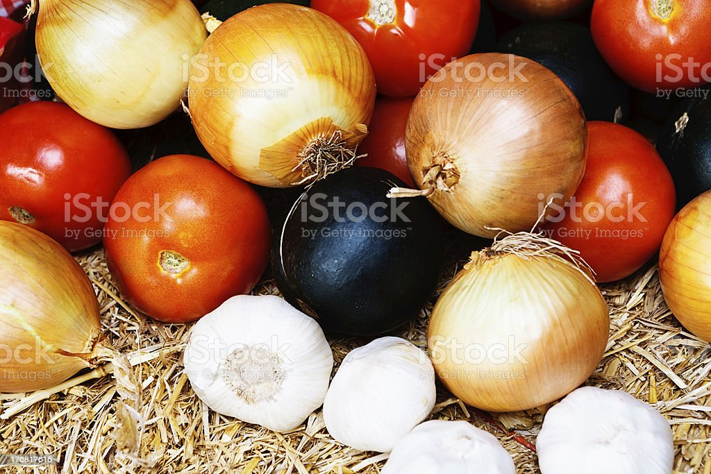 Close-up view of healthy vegetables at farmers market royalty-free stock photo