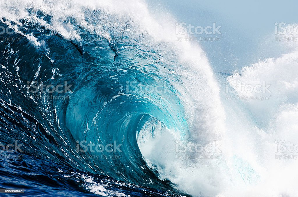 Close-up view of huge ocean waves stock photo