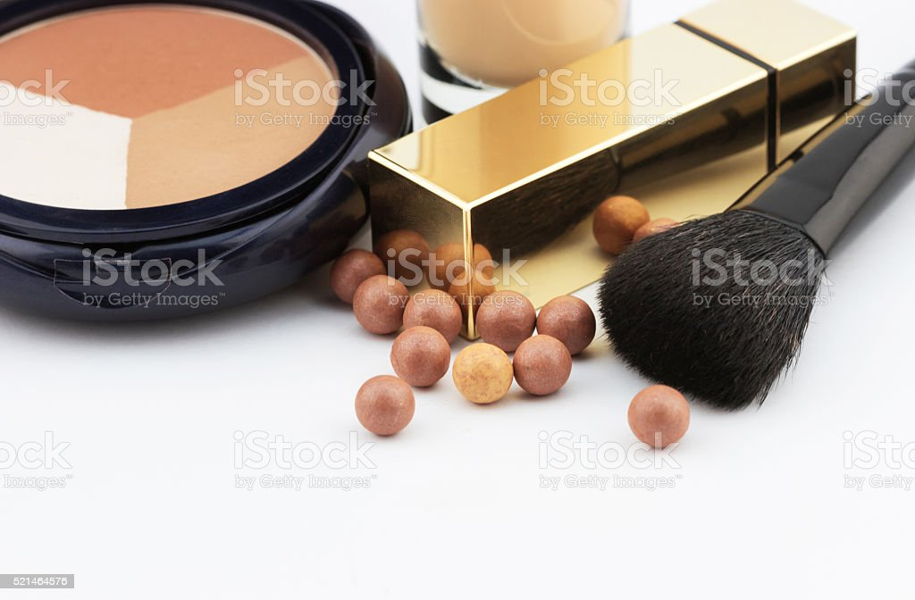 Close-up view of makeup and cosmetic objects stock photo