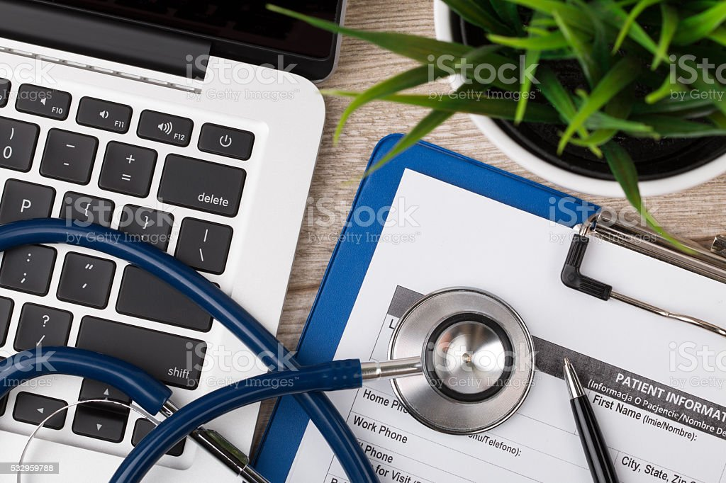 Close-up view of medical doctor's working table stock photo