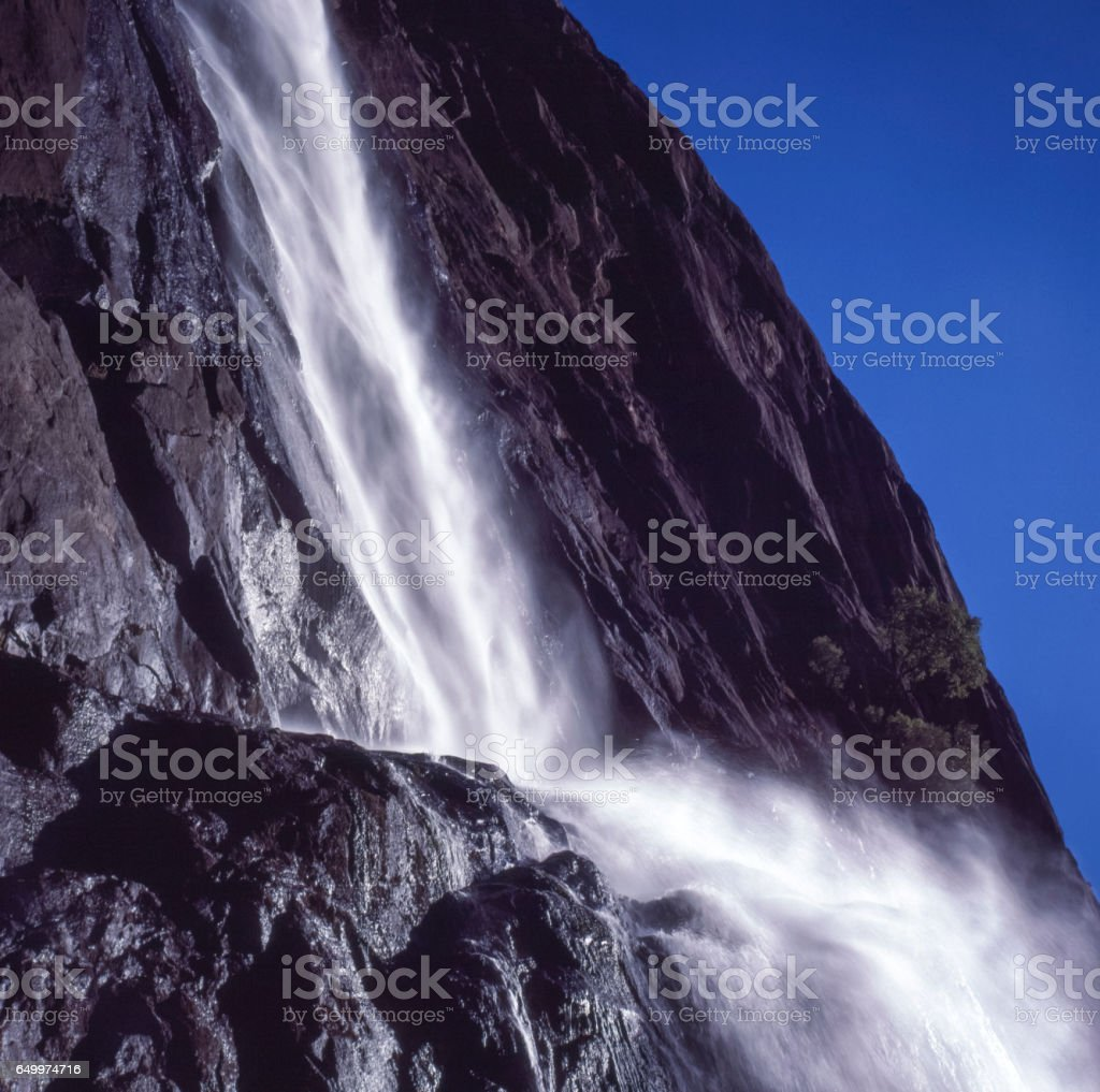 Close-up view of Mid Yosemite Falls stock photo