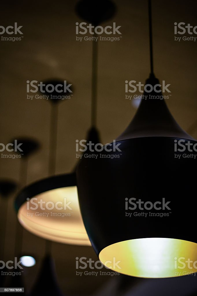 Close-up View of Modern Ceiling lamps stock photo