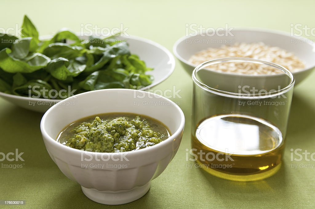Close-up view of organic italian Pesto royalty-free stock photo
