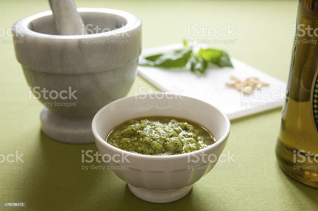 Close-up view of organic italian Pesto royalty-free stock photo