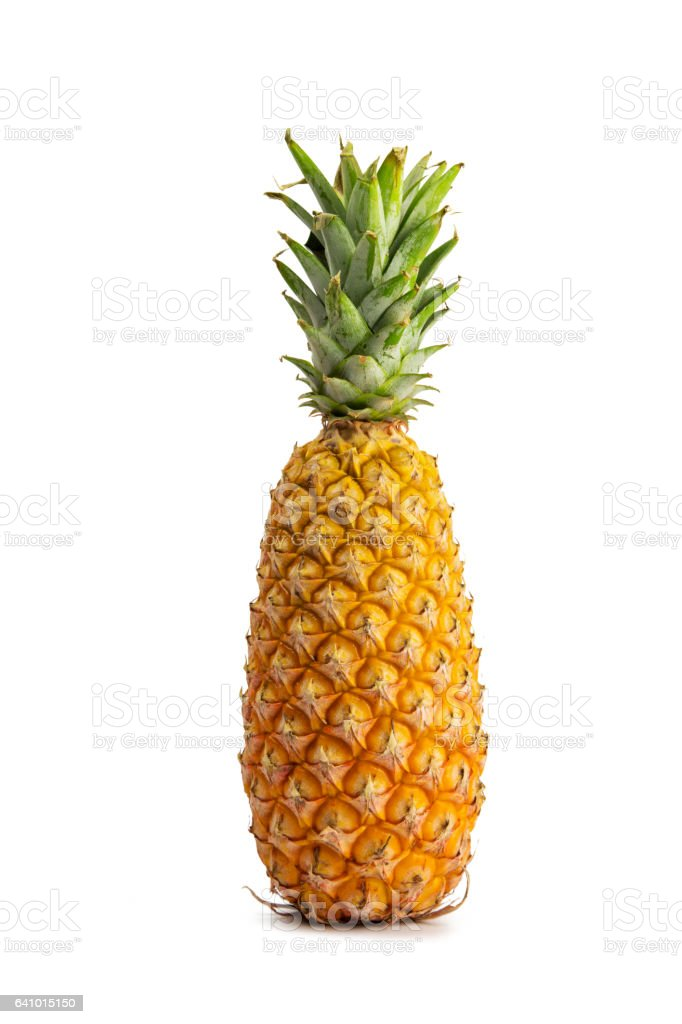close-up view of perfume pineapple on white background. stock photo