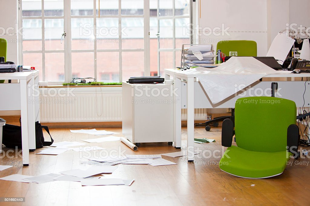 Close-up view of ransacked office stock photo