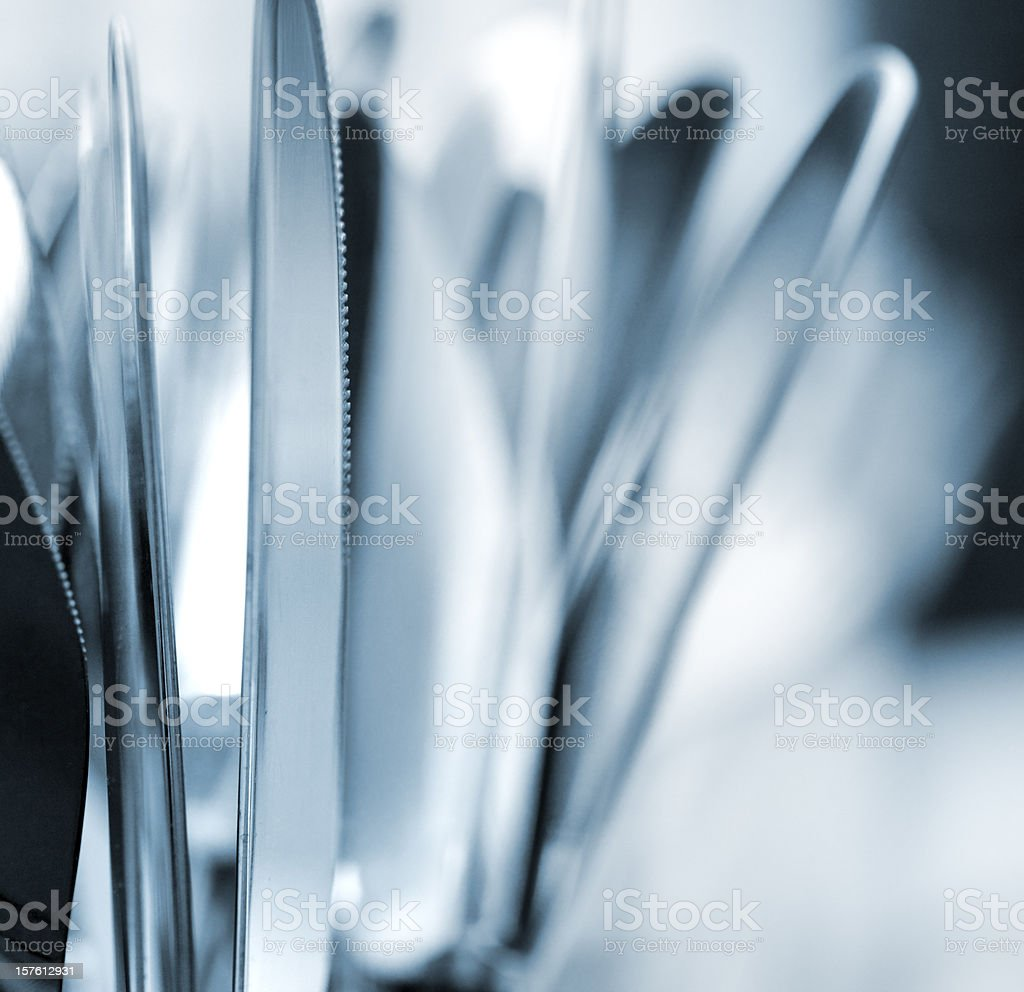 Close-up view of shallow depth of field of silverware royalty-free stock photo