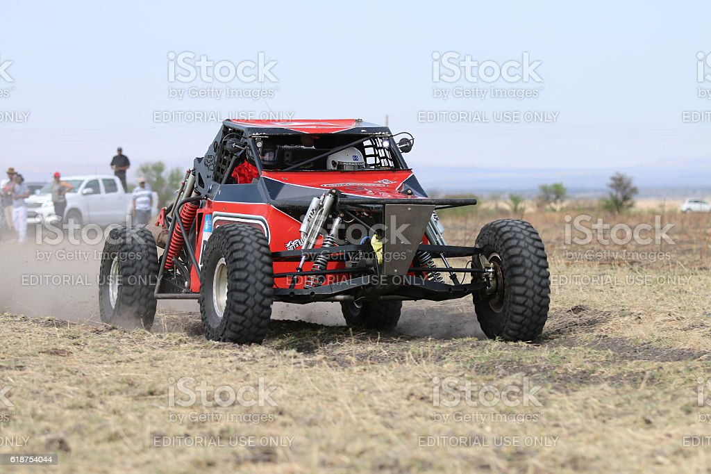Close-up view of Speeding red Hellcat rally car stock photo
