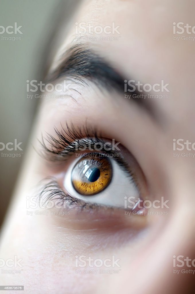 Close-up view of teenage girl eye stock photo